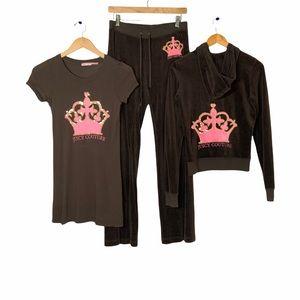 Juicy Couture Velour 2 Pc Track Suit Shirt Sm/Med
